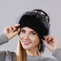 winter women's warm hat Imported mink with The little flowers made of rabbit fur surround the cap and fox fur and balls lower