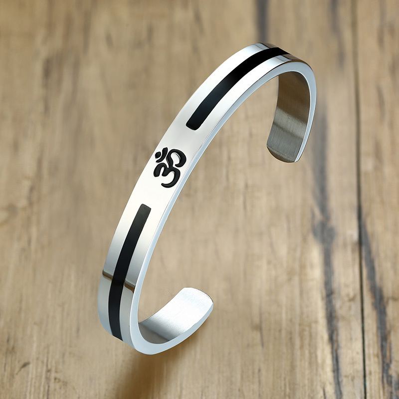 Vnox Casual AUM OM Bangle For Men Women Simple Stainless Steel Open Cuff Bracelets Yoga Religious Lucky Peace Indian Jewelry