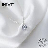 INZATT OL mignon géométrique tour de cou rond pendentif collier pour les femmes fiançailles couleur or Rose 925 bijoux en argent Sterling cadeau