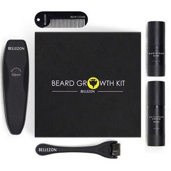 4 Pcs/set Barbe Beard Growth Kit Hair Growth Enhancer Set Beard Growth Essentital Oil Facial Beard Care Set Best Gift for Men