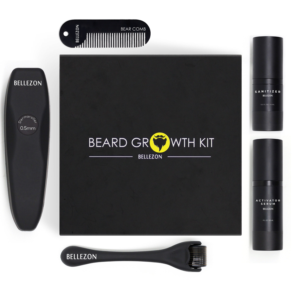 4 teile/satz Barbe Bart Wachstum Kit Haar Wachstum Enhancer Set Bart Wachstum Essentital Öl Gesichts Bart Pflege Set Beste Geschenk für Männer