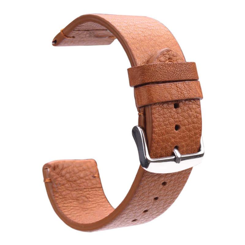 HENGRC bracelet de montre en cuir véritable 18mm 20mm 22mm marron clair marron foncé rétro bracelet de montre avec boucle en acier ressort Bar