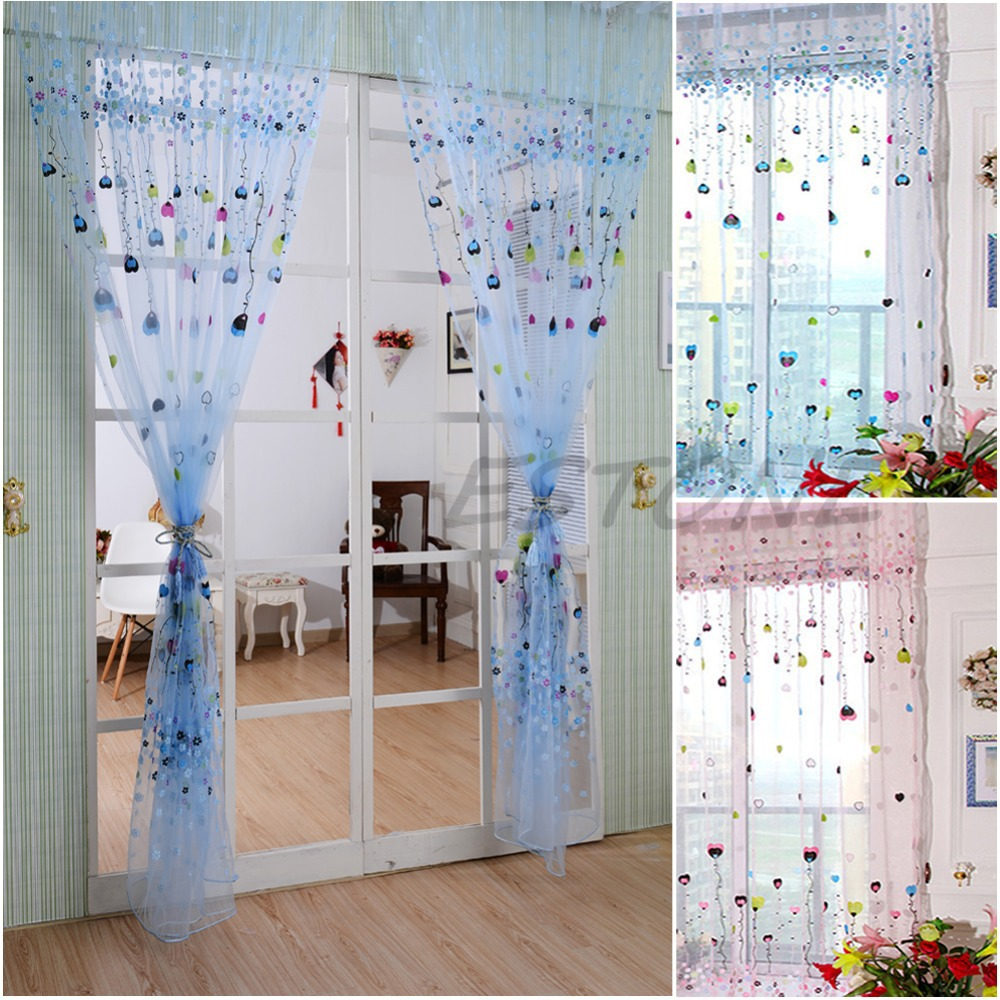 Ho how to tie balloon curtains - Hogar Paradise Hot Sale Cute Love Balloon Tulle Voile Balcony Children S Bedroom Window Drape Sheer Curtain