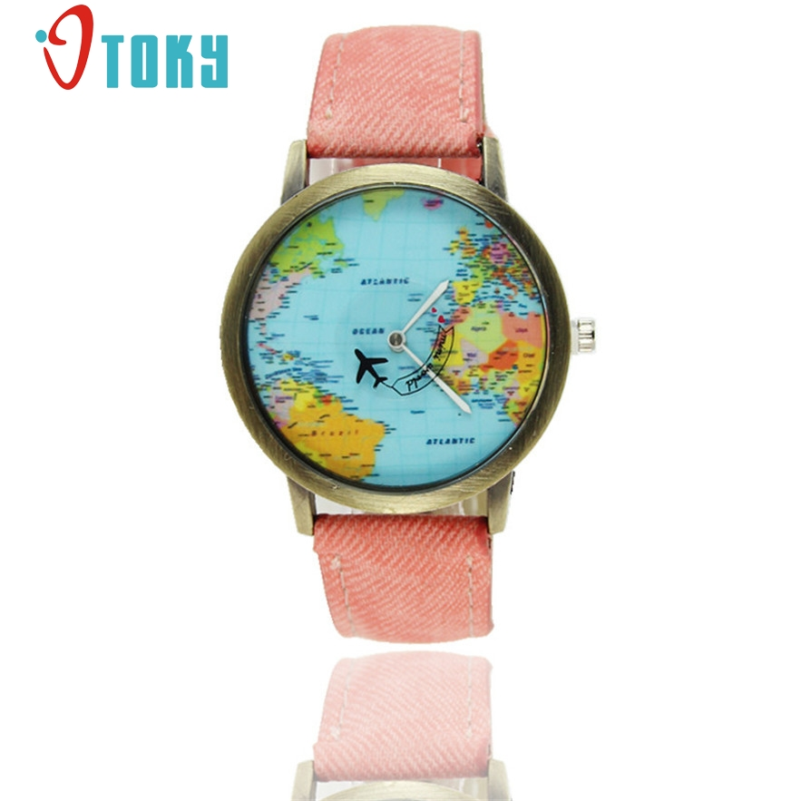 OTOKY World Map Quartz Women Watch Fashion Leather Men Watch Ladies Aircraft Vintage Wristwatch Casual Relogio Feminino #30 Gift miler vintage fashion watch women retro leather strap world map casual quartz wristwatch ladies creative clock relogio feminino