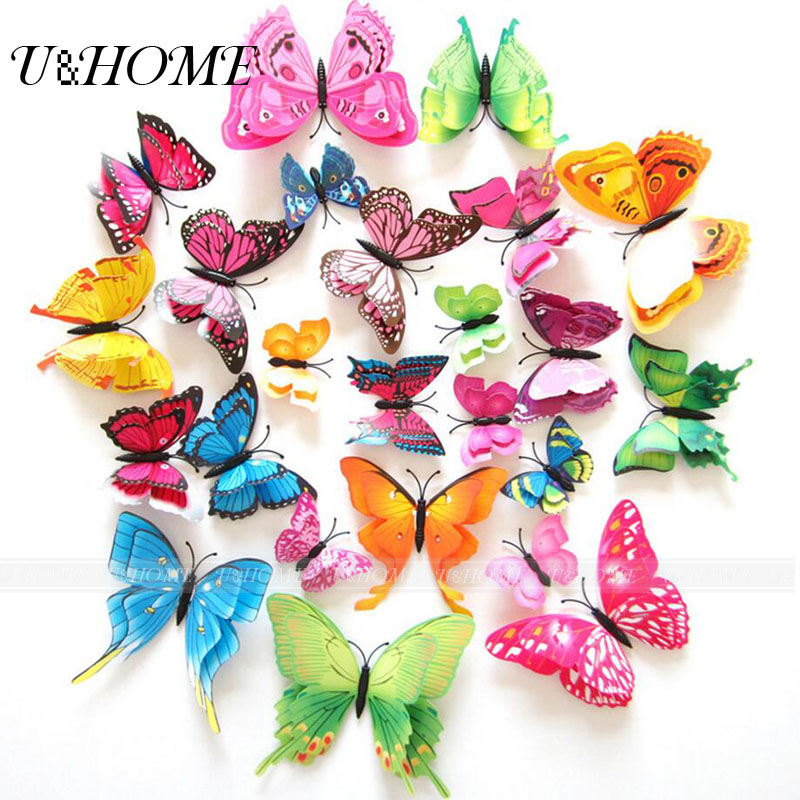 12pcs Bag Cheap Artificial Butterfly Double Deck For Flowers Decoration Accessories Home Wall Party