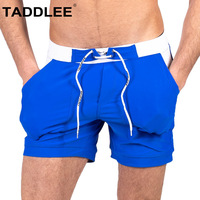 Taddlee Brand Sexy Mens Swimwear Swim Boxer Trunks Short Surf Shorts Solid Male Swimsuits Pockets Solid Boardshorts Surf Bathing