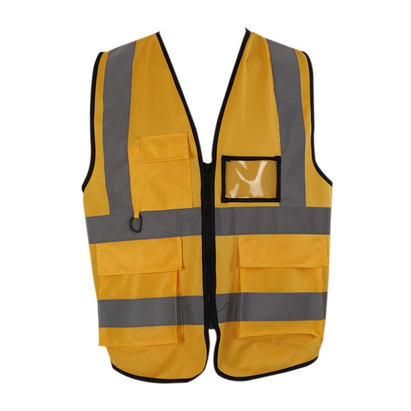 5 Pouch High Visibility Reflective Safety Vest Zipper Security Jacket Cycling Motorcycle Waistcoat Working Uniforms 2018