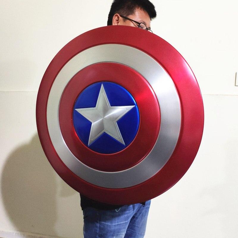 [Metal feito] 1:1 60cm avengers completa de metal capitão américa escudo versão perfeita sem pintura/pintado prop cosplay traje festa