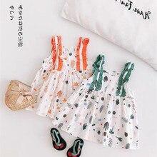 Платье для маленьких девочек модное летнее хлопковое платье принцессы без рукавов с поясом, 2 цвета