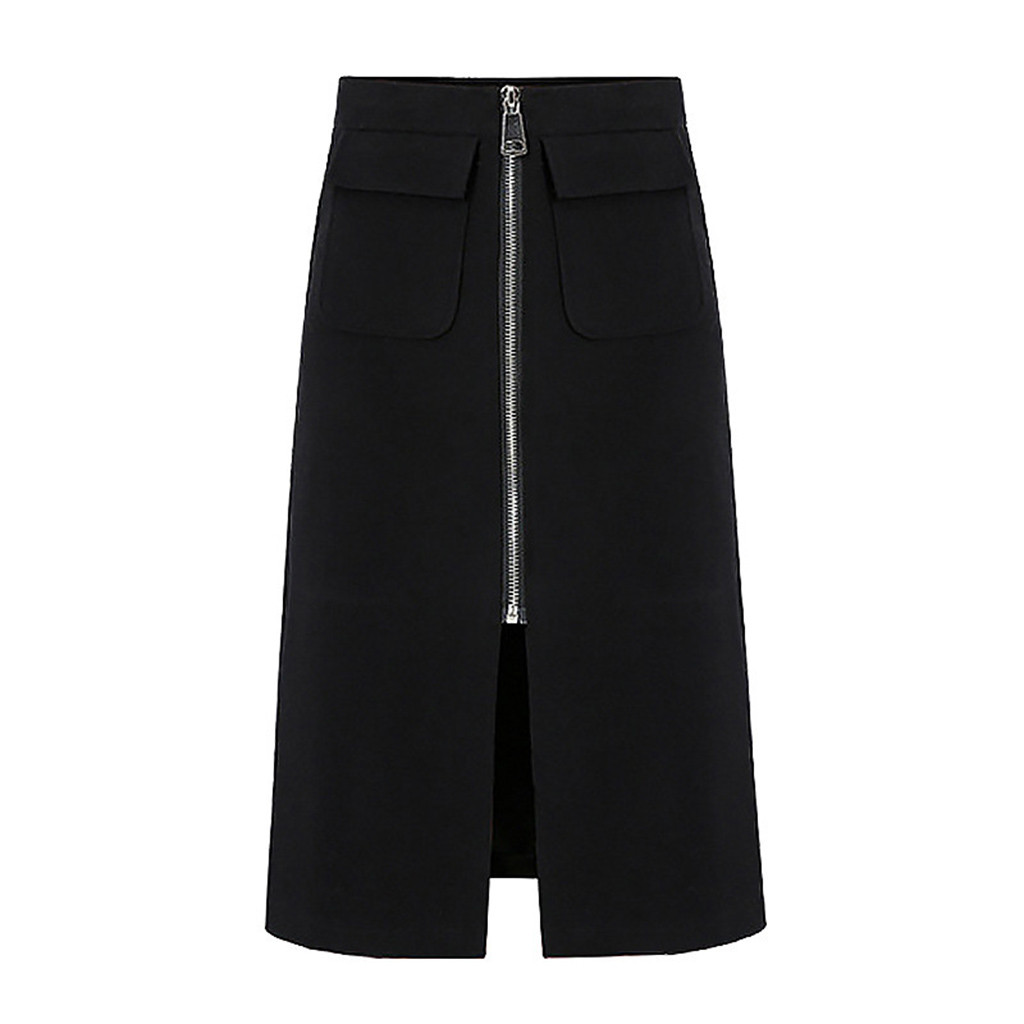 2019 Summer Fashion Women High Waist Front Zip Skirt Casual Zipper A-line Bodycon Skirt Knee Length Slim Slinky Skirt(China)