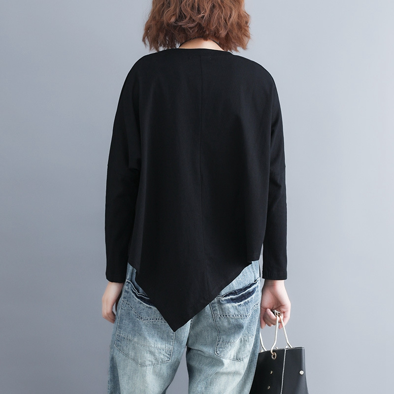 Batwing Sleeve T-shirt Women Casual Plus Size Asymmetrical Tops Long Sleeve Oversize Tees Black MMHH737 2