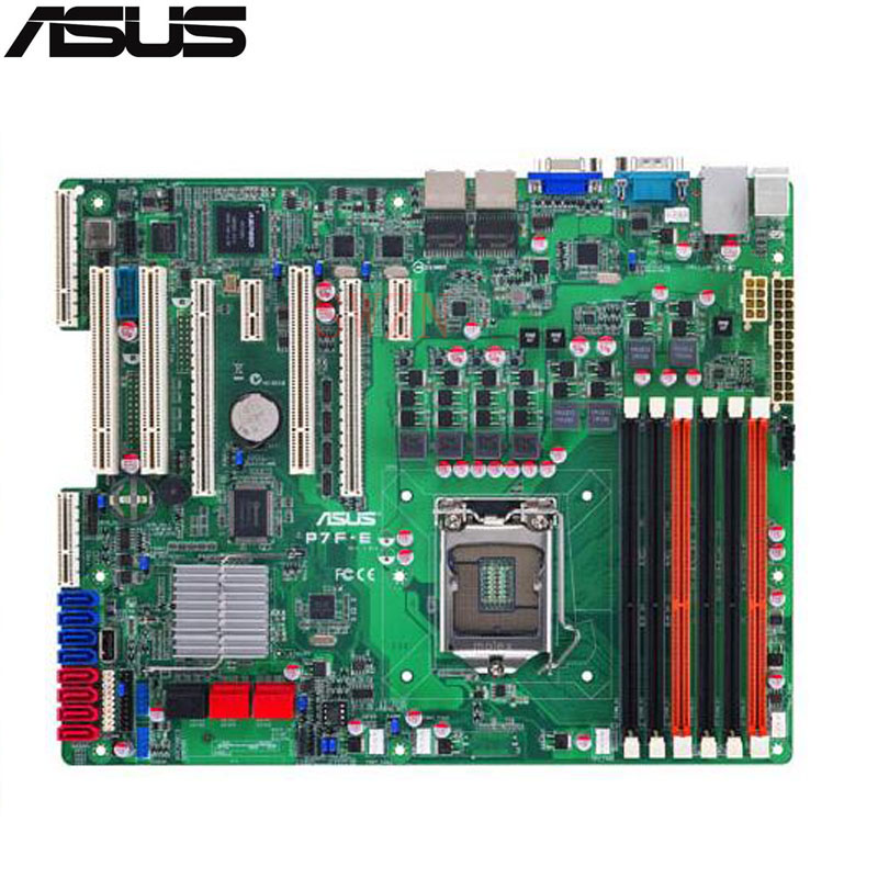original Used Server motherboard For Asus P7F-E Socket 1156 3400/core i7/core i5 Maximum 6*DDR3 32GB 6xSATA ATX