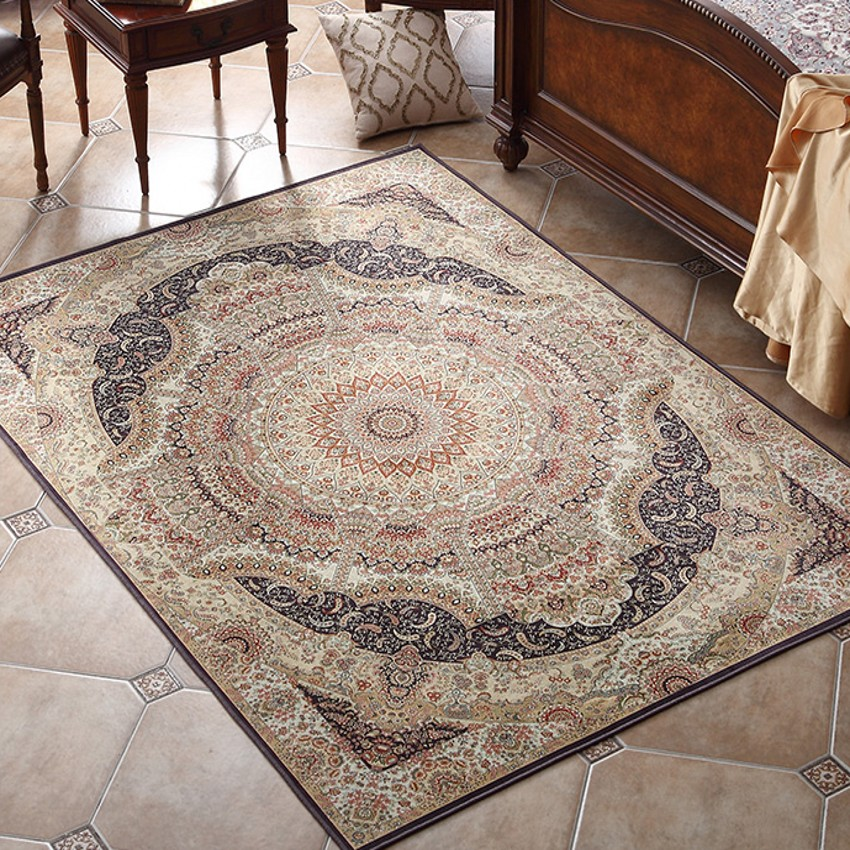 Big Size Retro Living Room Coffee Table Persian Carpet,   American Style Bedside Rug, Pastoral Home Decoration Floor Mat