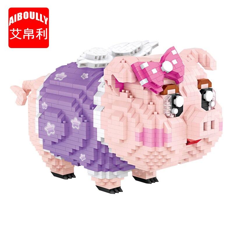 LOZ 9042 diamant blocs tirelire cochon jouets enfants blocs de construction modèle Micro briques éducatifs créatifs jouets pour enfants
