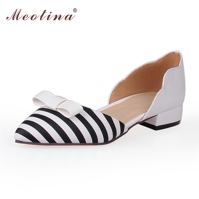 Meotina Women Shoes Pointed Toe  Ladies Flat Shoes Office Lady Flats Slip On Bow Shoes Women Two Piece Footwear Large Size 9 10