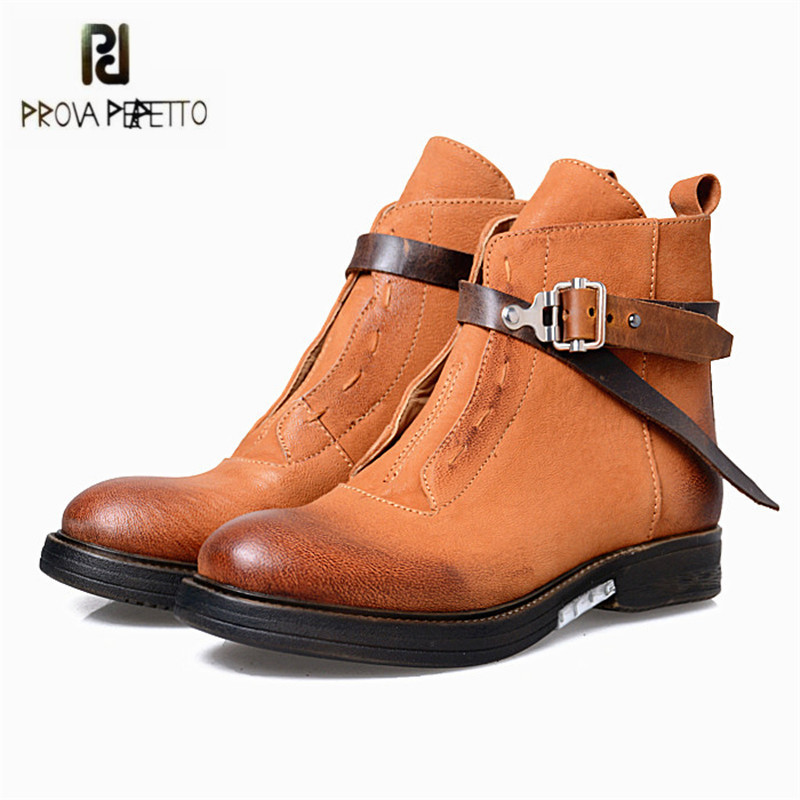 Prova Perfetto Brown Women Ankle Boots Platform Flat Botas Mujer Genuine Leather Winter Snow Boots Short Rubber Martin Shoes prova perfetto new hot women martin boots autumn round toe flat platform shoes woman lace up female genuine leather ankle boots