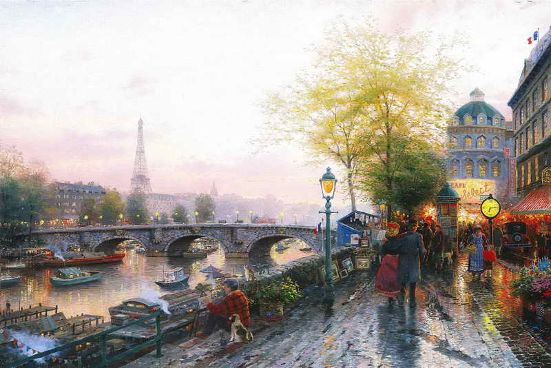 <font><b>Paris</b></font> Tower Thomas Kinkade HD Canvas Print Living Room Bedroom Wall Pictures Art Painting Home Decoration No Frame image