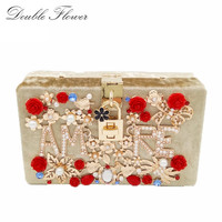 Gold Velour Flower Crystal AMRE Letter Women Evening Party Prom Beaded Totes Box Clutch Fashion Shoulder