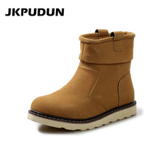 JKPUDUN Male Chelsea Boots Winter Super Warm Snow Boots Men Luxury Brand Fashion Boots For Men Casual Shoes 2017 Ankle Boots Bot(China)