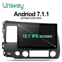 uniway ALSY1071 2G+32G android 7.1 car dvd for honda civic 2006-2011 2008 car radio gps navigation support steering wheel