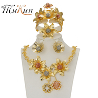 SHILU 2017 New Flower Jewelry Sets Gold Color Bridal Wedding Sets Necklace Earrings Bangle Ring Ethiopian