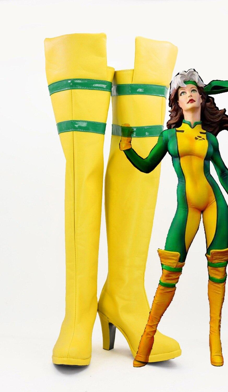 X-Men Rogue Raven Darkholme Cosplay Boots Shoes Yellow Long Custom Made