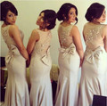 2016 Elegant Latest Style O Neck Bridesmaid Dresses with bow vestido de festa Beading Chiffon Mermaid Wedding Party Dresses