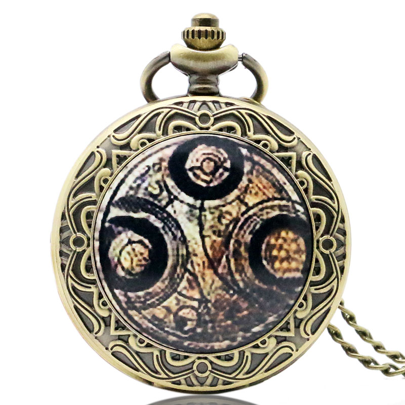 3 Type Hot TV Series Doctor Who Copper Bronze Retro Quartz Pocket Watch Clock Pendant Necklace Hour Men Women Christmas Gifts
