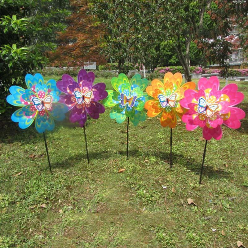 New Arrival Wind Spinner Windmill Toys Garden Decoration Insect Cartoon Butterfly Kids Children Toy Gifts Yard Wheel Pinwheel