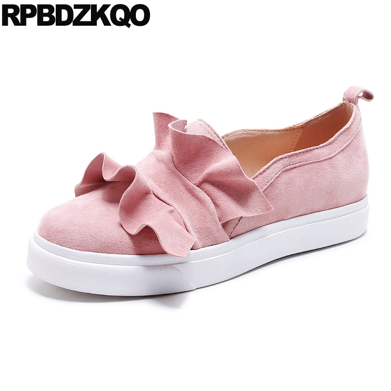 Genuine Leather Creepers Pink Designer Shoes China Real Cute Elevator Muffin Women Thick Sole Flats Fashion Latest Ruffles