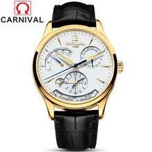 カーニバルブランド自動腕時計男性機械式時計本革ストラップ30メートル防水多機能高級腕時計2017
