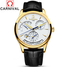 Carnival Brand Automatic Watches Men Mechanical Clock Genuine Leather Strap 30M Waterproof Multifunction Luxury Watch 2017
