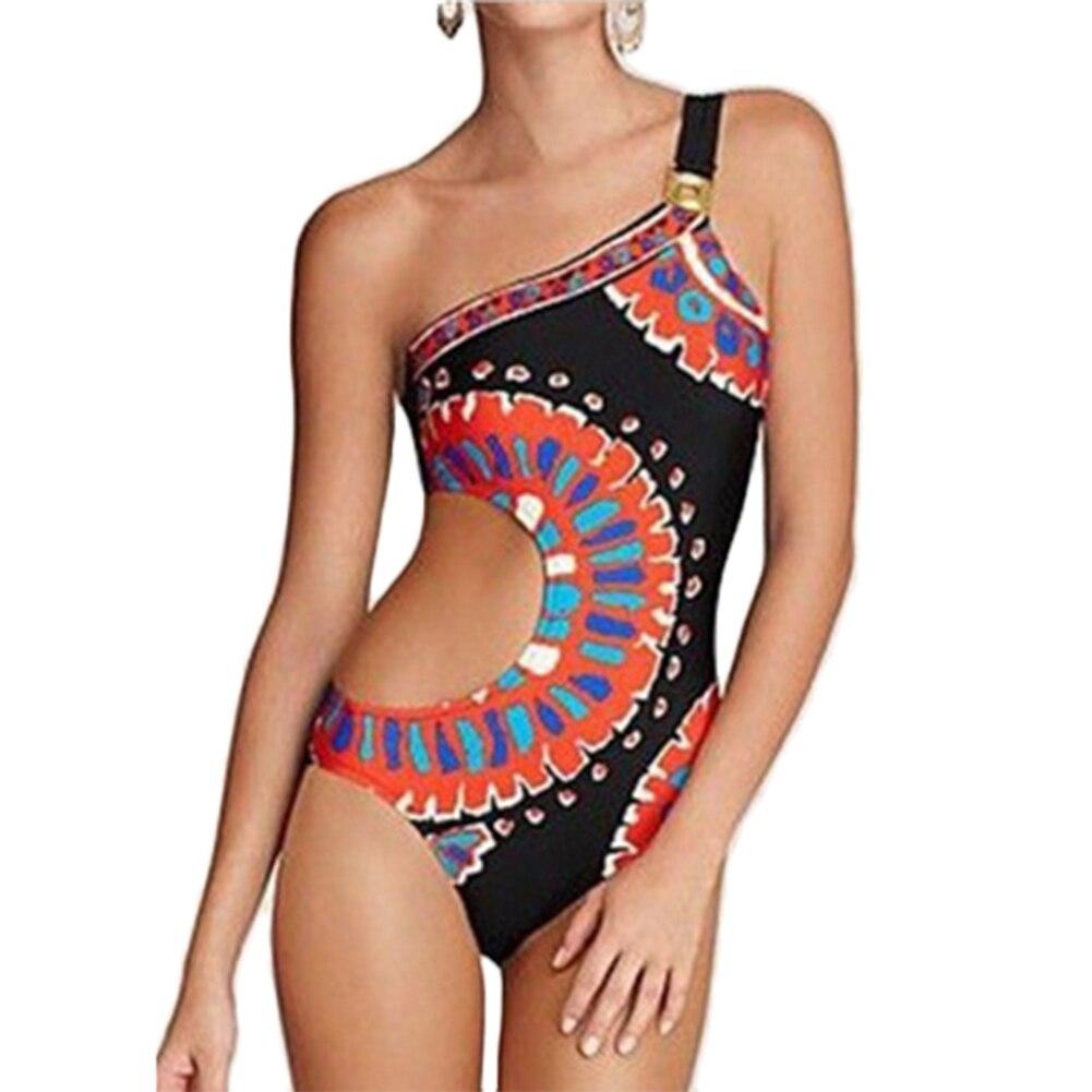 цена на One Shoulder Cut Out Swimsuit One Piece Swimsuit Monokini Swimwear Bathing Suit Beach Wear Women Swiming Suit