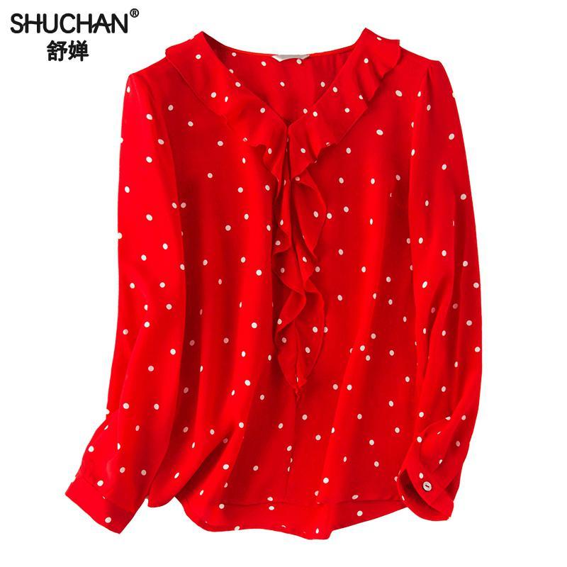 Shuchan 100% Natural Silk Blouse Women Ruffles Polka Dot V neck Elegant Blouses For Women Shirts Street Wear 2019 New C1107