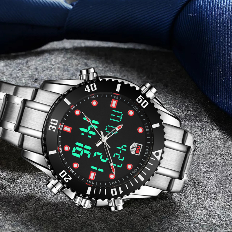 Top Brand Luxury TVG Men Watch Stainless Steel Dual Display Quartz Watches Fashion Men Sport Watch 100M Waterproof Dive Watches