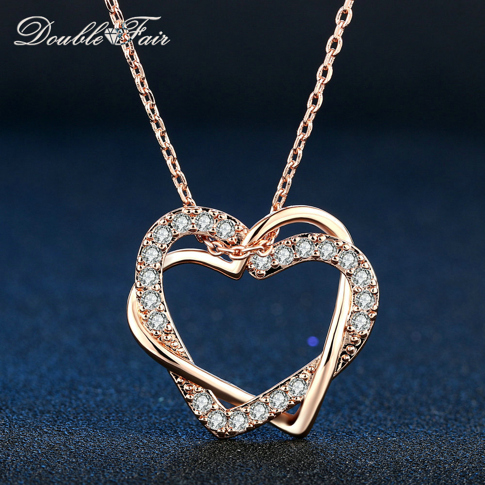 Double Fair Love Heart Cubic Zirconia Necklaces & Pendants Silver/Rose Gold Color Wedding Jewelry For Women HotSale DFN062Double Fair Love Heart Cubic Zirconia Necklaces & Pendants Silver/Rose Gold Color Wedding Jewelry For Women HotSale DFN062