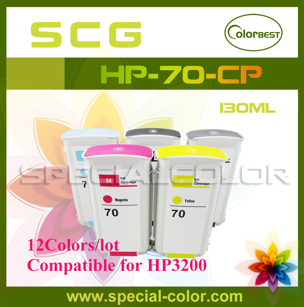 130ml for HP Printing Ink 3200 Pigment Ink Cartridge with Chip for HP-70 12Colors/set GE/GY/LG/PK/M/Y/LC/LM/MK/R/G/B 5colors set high quality 680ml ink cartridge with pigment chip for hp 5000 5500 printer c m y lc lm