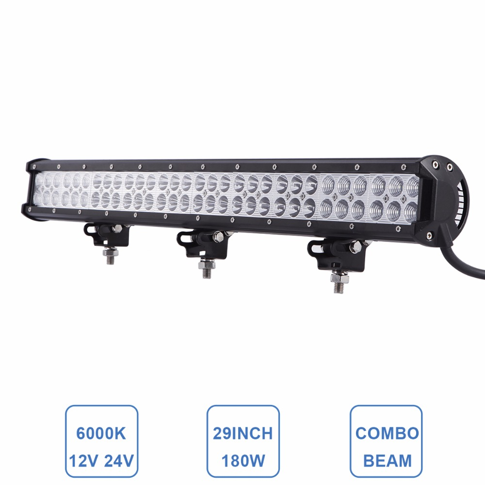 Offroad 180W LED Light Bar 12V 24V Driving Headlight 29'' Auto Car Truck Wagon Van Camper Pickup 4X4 4WD Trailer Farming Lamp 50 offroad 324w led light bar bumper roof styling refit headlight 12v 24v car truck suv 4x4 trailer wagon camper pickup lamp