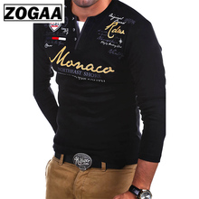 ZOGAA Men Tshirt 2019 New Fashion Long Sleeve Slim Solid Color T-shirt Striped Fold Letter Printed Casual T Shirts Tops Tees