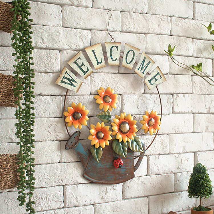 Plaque Metal Vintage Iron Sunflower Welcome Sign Plate Garden Wall Decoration Shabby Chic Home Decor