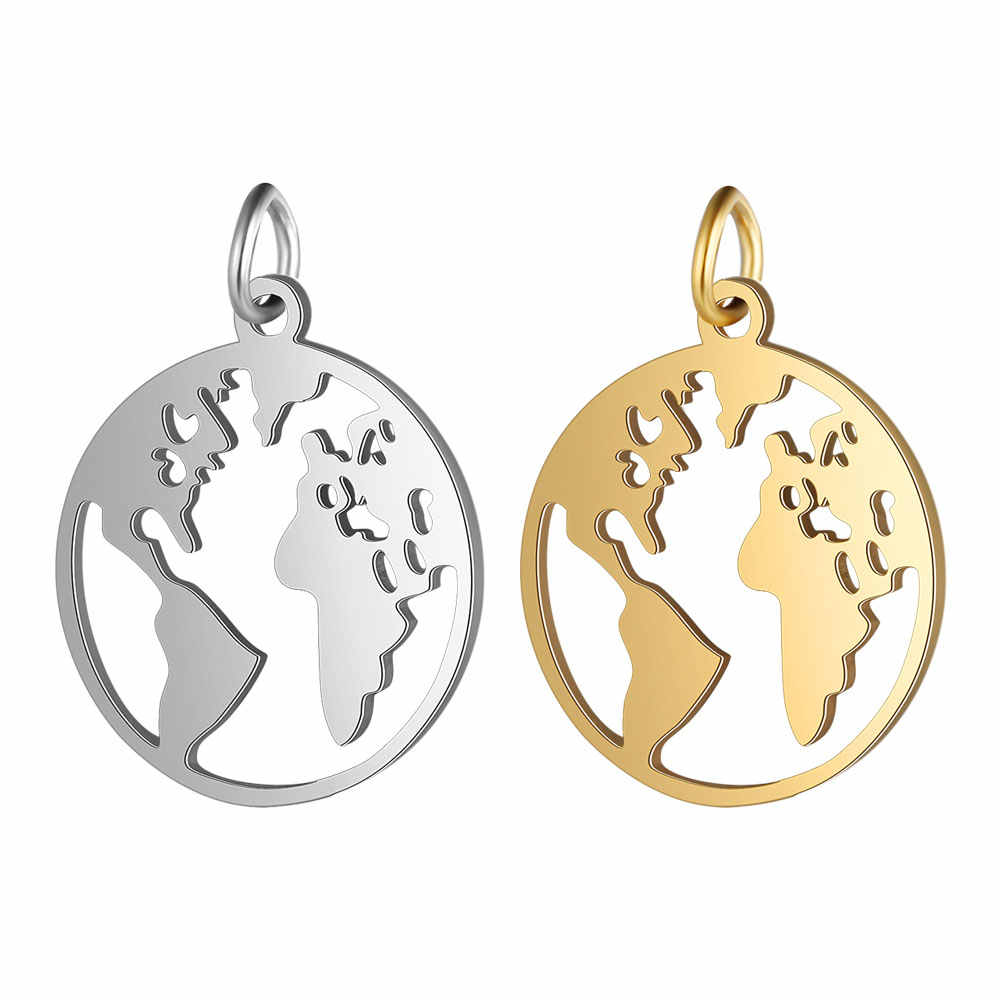 5pcs/lot 100% Stainless Steel World Map Charm Wholesale Steel and Gold Filled Jewelry Charms DIY Jewelry Finding Supplies