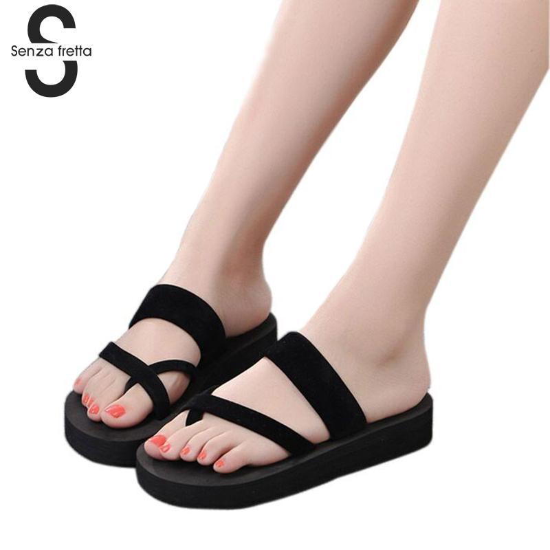Senza Fretta Women Flip Flops Beach Sandals Fashion Slippers New 2018 Summer Women Cool Shoes Woman Mid Heel Sandals LDD0249 цена
