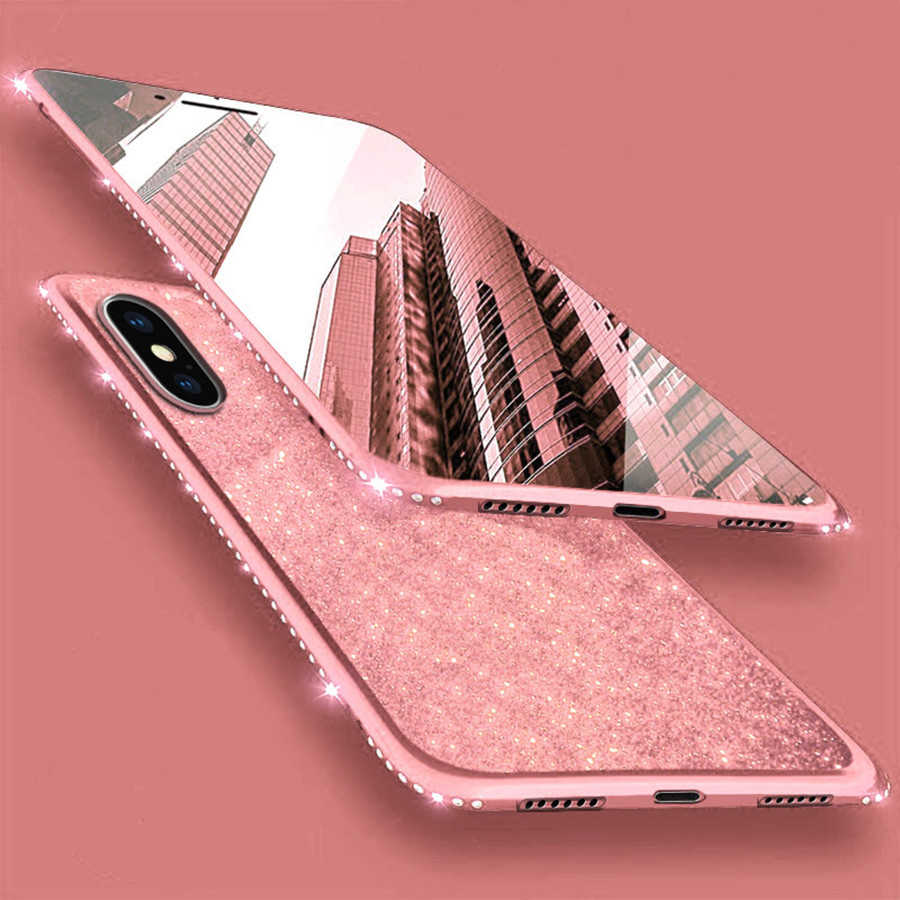 Diamond Case for iPhone X TPU Cover for iPhone 6 6S 7 8 Plus XR XS MAX Bumper Glitter Huawei P20 P30 Pro Mate 20 10 Lite Nova 3