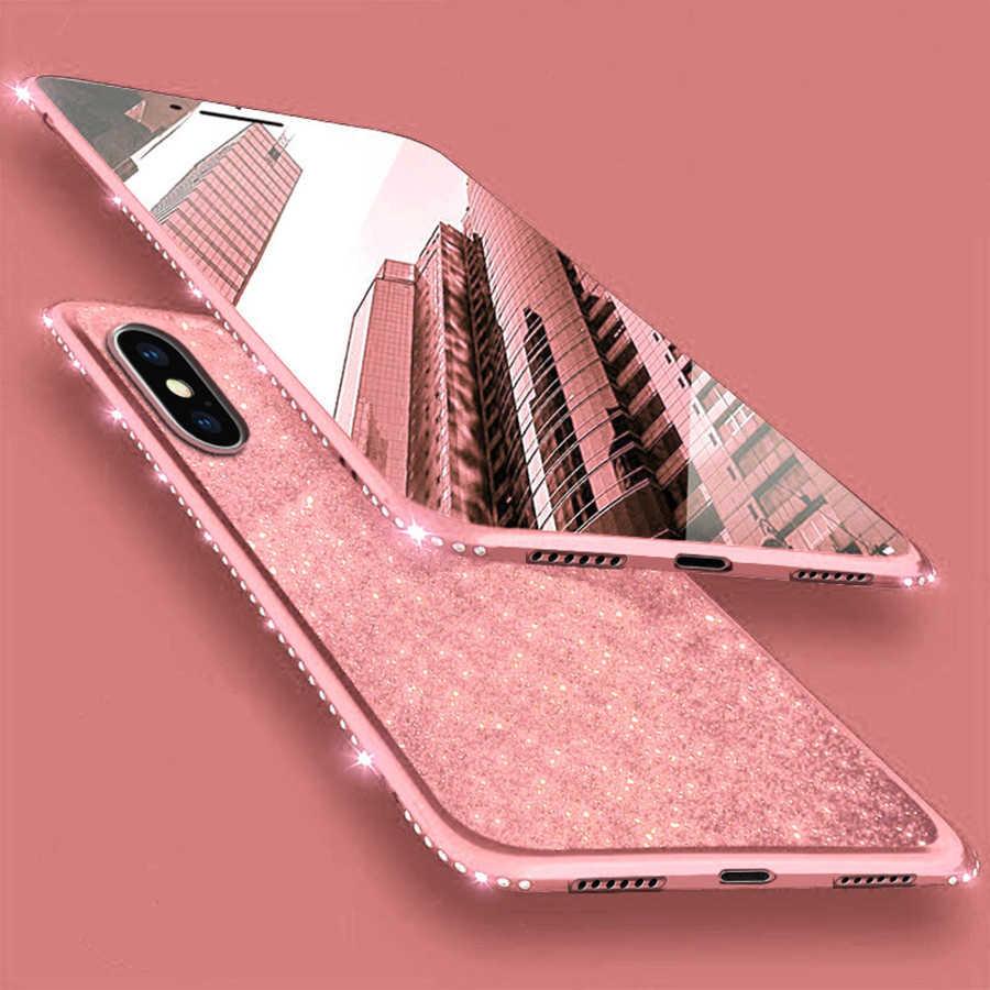 Diamond чехол для iPhone X TPU крышка для iPhone 6 6S 7 8 плюс XR XS Макс бампер блеск huawei P20 P30 Pro Коврики 20 10 Lite Nova 3