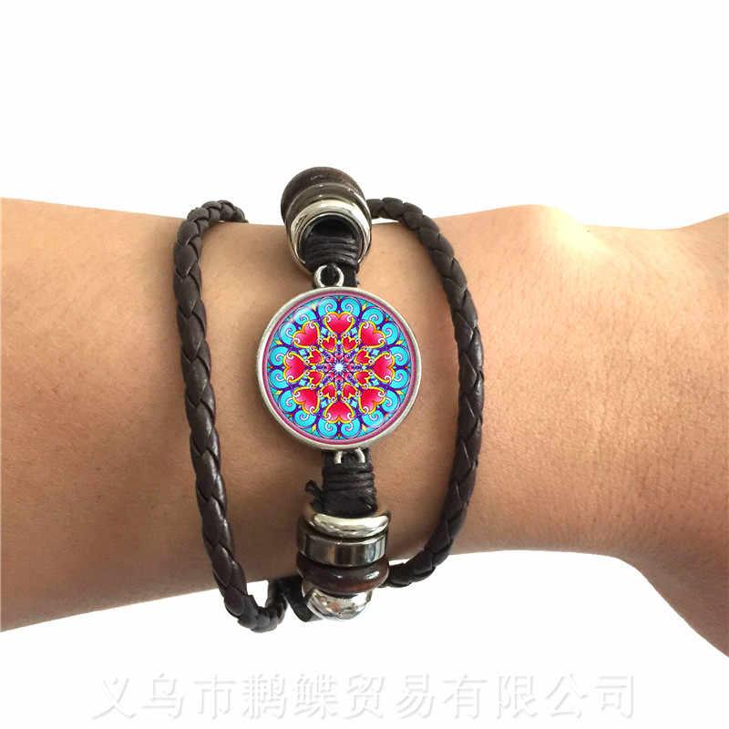 קלאסי הודי חינה יוגה צמיד Om סמל בודהיזם זן צבעוני מנדלה פרח שחור/חום 2 צבע עור כבלי צמיד