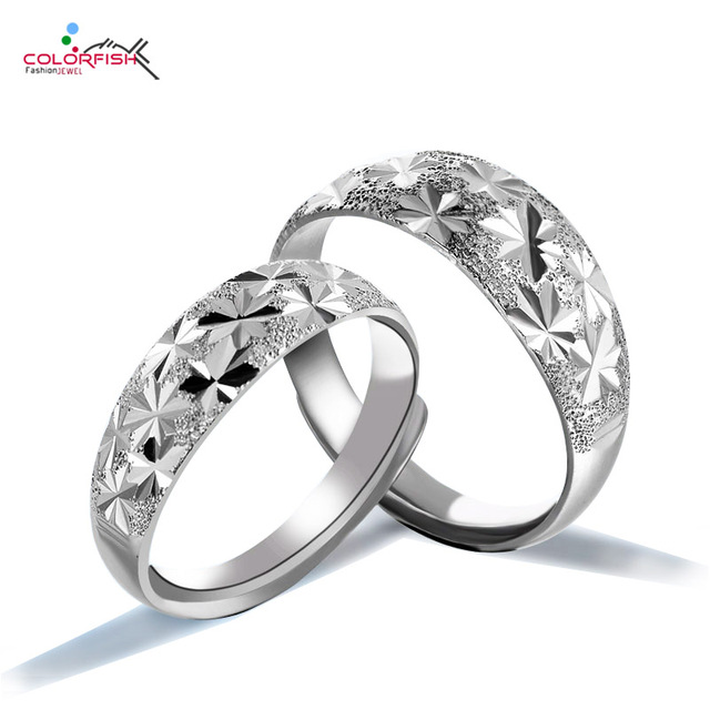 colorfish simple ring set for women men vintage engraving star shaped genuine 925 sterling silver - Simple Wedding Ring Sets