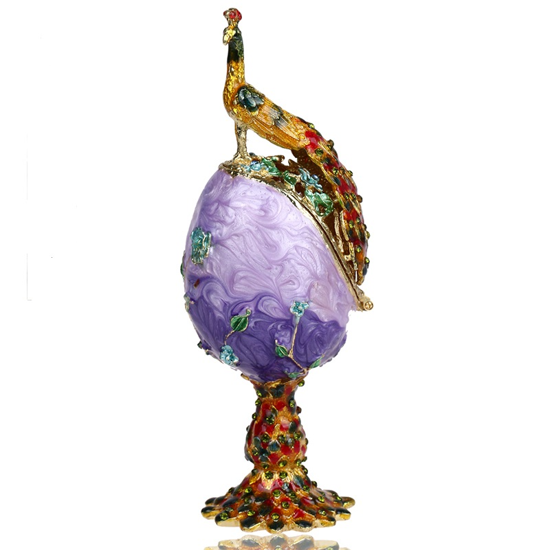 Vintage Peacock Metal Crafts Purple Faberge Russia Eggs Figurine Jewelry Trinket Box for Christmas Gifts Easter Display