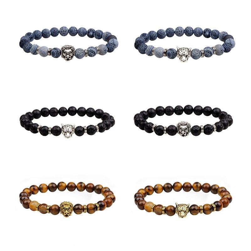 2018 Leopard Tiger Eye Lion Head Bracelet Men Buddha Beads Bracelets Bangles Charm Natural Stone Yoga Bracelet For Women Jewelry