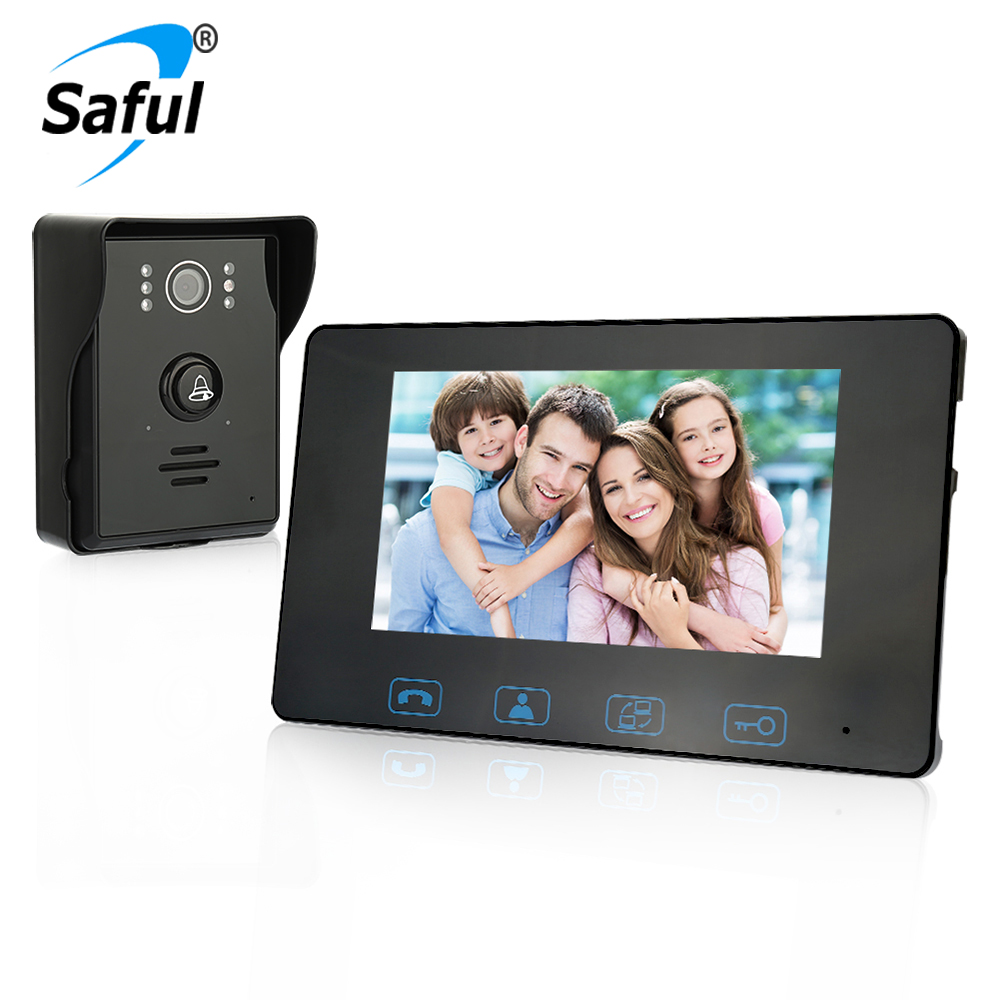 Saful 7 Inch LCD Wired Video Door Phone Intercom Waterproof  Night Vision Button Electric Lock-control Function Free Shipping 7 inch video doorbell tft lcd hd screen wired video doorphone for villa one monitor with one metal outdoor unit night vision