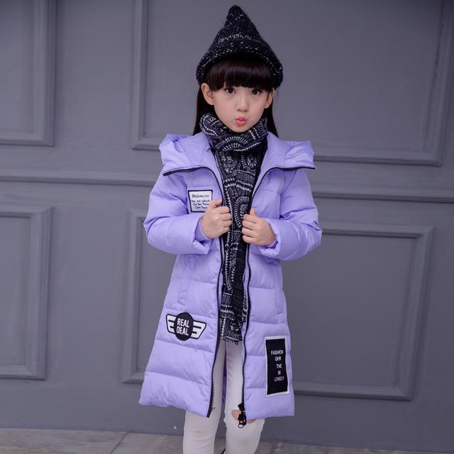 Invierno 2016 Escudo Para Niños Chica Nueva Moda de Marca Sólida Muchachas de la Manga larga Con Capucha de Down Parka de Algodón Casual Niños Chaqueta Outwear